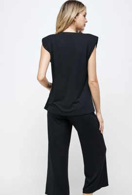 Gimme that Power Shoulder Top in Black