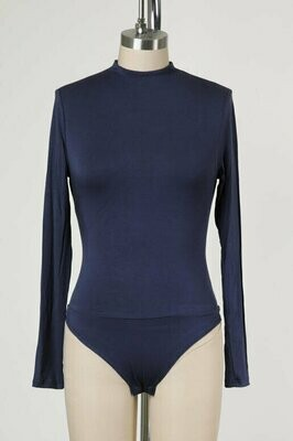 Double Lined Mock Neck Bodysuit in Mood Navy