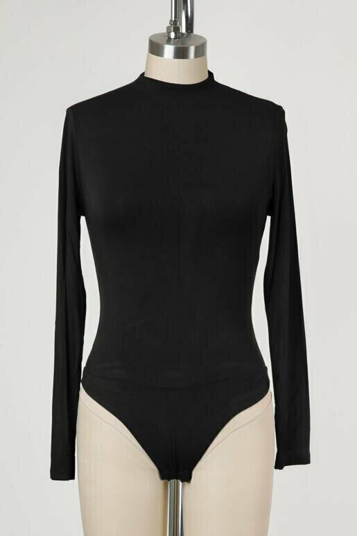 Double Lined Mock Neck Bodysuit in Black