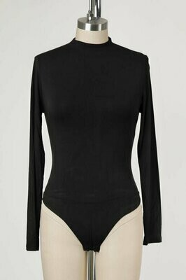 Double Lined Mock Neck Bodysuit in Black