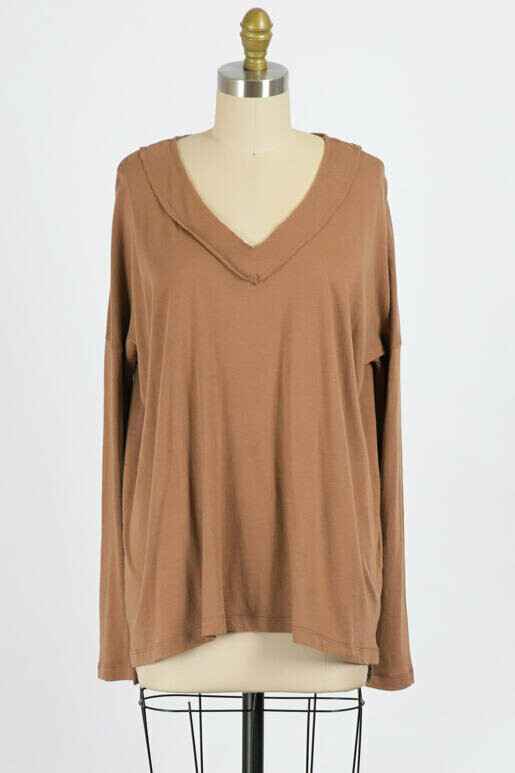 Toffee Long Sleeve V Neck Top