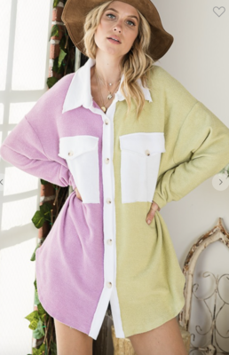 Color Block Lime and Lavender Shacket