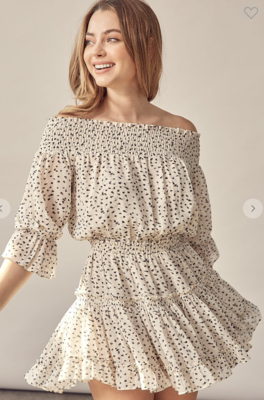 Sunday Funday Spotted Off the Shoulder Dress