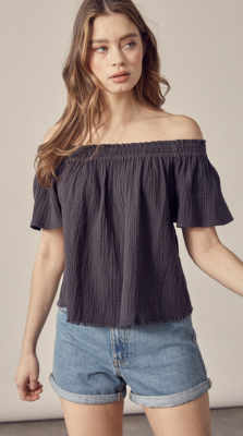 Faith Off The Shoulder Top in Charcoal