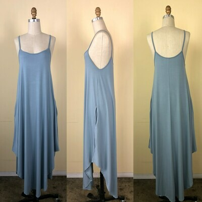Spaghetti Strap Maxi Dress Chambray Blue