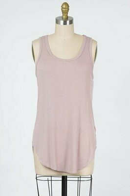 Ribbed Tank Top in Dusty Rose