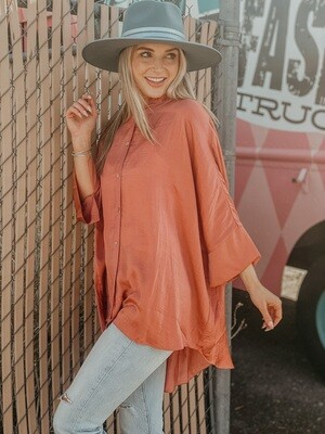 Oversized Satin Button Down in Rose Clay