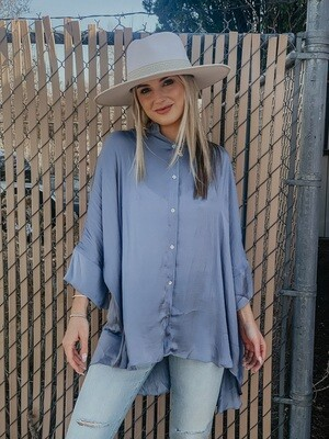 Oversized Satin Button Down in Slate Blue