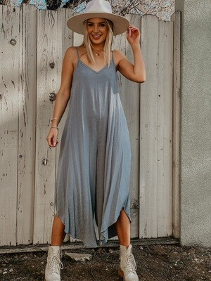 Textured Slouchy Jumpsuit in Grey Blue