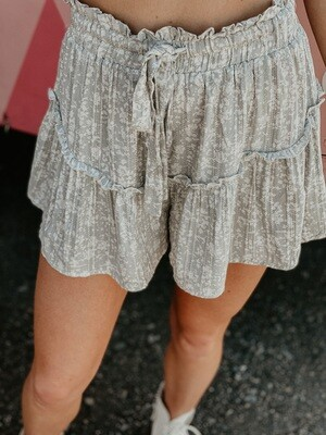 Spring Ruffle Shorts in Faded Sage