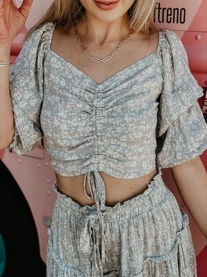 Spring Puff Sleeve Top in Faded Sage
