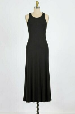 Racer Back Ribbed Black Maxi