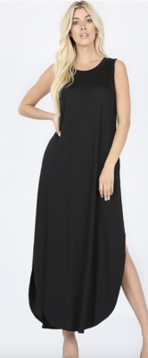 Black Maxi Dress with Pockets and Side Slits