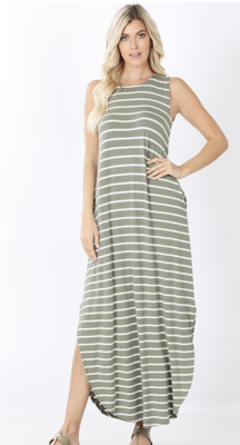 Sage/Ivory Maxi Dress with Pockets