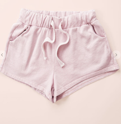 Mineral Wash French Terry Shorts in Light Pink