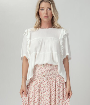Le Femme White Tiered Top