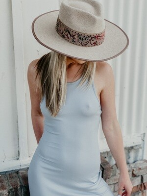 Walk a Fine Line Ribbed Maxi Dress in Ash Blue
