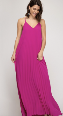 Wedding Guest Pleated Maxi Dress in Magenta