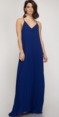 Wedding Guest Pleated Dress in Royal Blue
