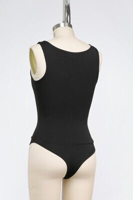 Double Lined Square Neck Bodysuit in Black