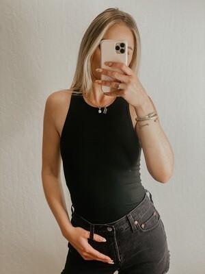 Double Lined Razor Back Bodysuit in Black