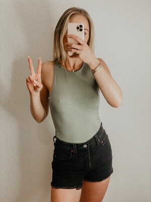 Double Lined Razor Back Body Suit in Sage Green