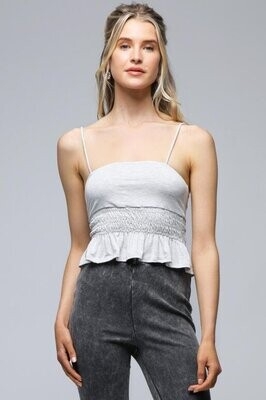 Double Lined Grey Cami with Smock in Grey
