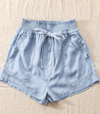 Smock Waist Shorts in Light Denim