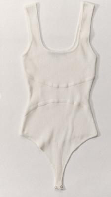 Rib Knit Bodysuit in White