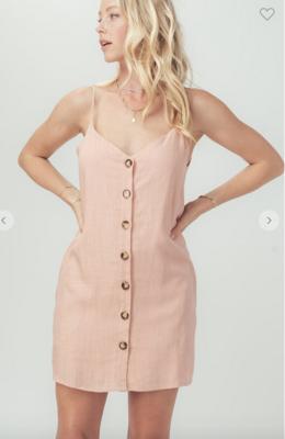 Strawberry Wine Linen Button Dress