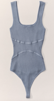 Rib Knit Bodysuit in Blue Stone
