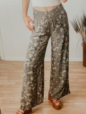 Olive Floral Wide-Leg Pants
