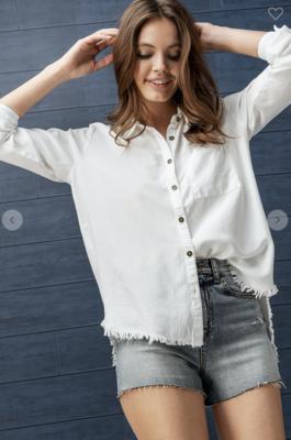 Raw Hem Button Down Button Up in White