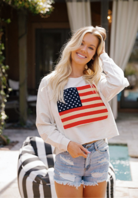 American Flag Pull Over