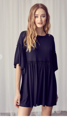 Baby Doll Dress with Edge Detail in Vintage Black