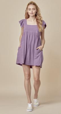 Compliment Getter Linen Dress in Grape