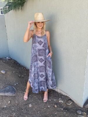 Boho Dreams Maxi Dress in Blue Grey