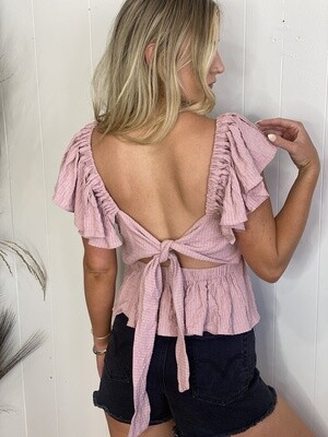 Sexy and Sweet Ruffle Tied Back Top in Pink Cream