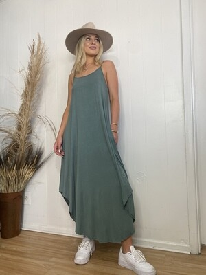 Spaghetti Strap Maxi Dress with Pockets in Pine Green
