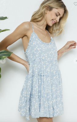 Hometown Girl Floral Dress in Cool Blue
