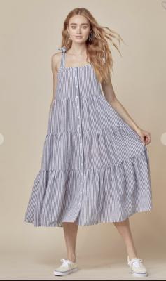 Hamptons Linen Tiered Dress