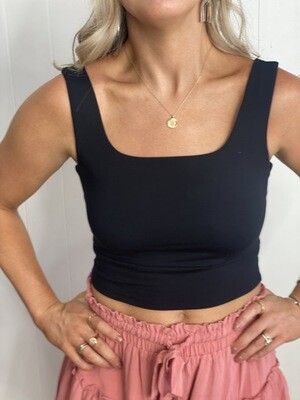 Double Lined Black Square Neck Cropped Tank