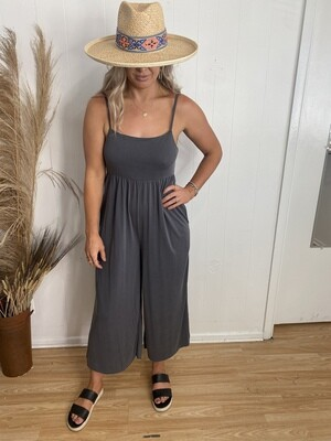 Catch Flights Jumpsuit in Charcoal