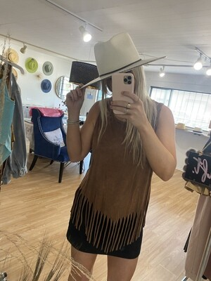 Night in The Country Fringe Sleeveless Top in Camel
