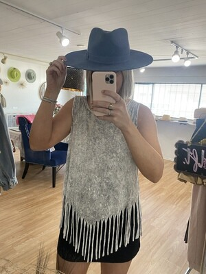 Night in The Country Fringe Sleeveless Top in Grey