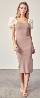 The Blaire Puff Sleeve Bodycon Dress in Taupe