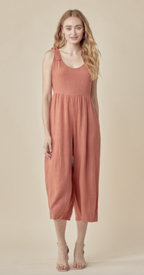 All Tied Up Jumpsuit in Rust
