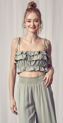 Like a Lady Ruffled Crop Top in Olive
