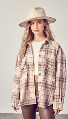 Catch My Second Wind Plaid Shacket in Mauve Combo