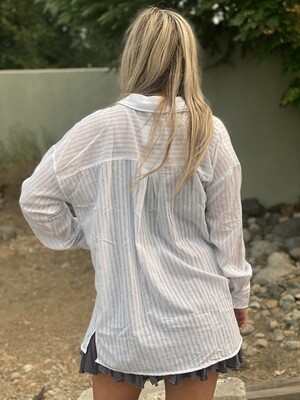 Cloud Jumper Striped Buttondown Top in White
